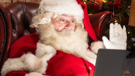 Santa is adapting to social distancing. Picture: Dominic Lipinski/PA Images