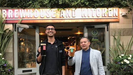 Left to right: general manager Enrique and employee Riaz. Picture: Brewhouse & Kitchen