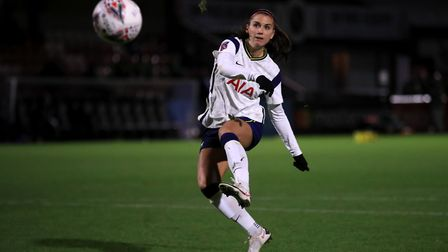 Tottenham Hotspur's Alex Morgan misses in the penalty shoot out during the Continental Cup match at