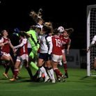 Tottenham Hotspur's Shelina Zadorsky (centre) scores her side's second goal of the game during the C