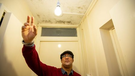 Everton Clemmings can't stay at his mouldy, vermin flat in Knightleas Court, Brondesbury Park. Picture: Jonathan Goldberg
