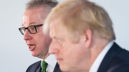 Boris Johnson and Michael Gove at a press conference while on the general election campaign trail. P
