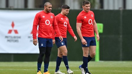 England's Jonathan Joseph, Ben Youngs and Owen Farrell during the training session at the Lensbury H