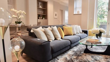 The living area of a Hampstead flat styled by JS Property Staging. Photo: JS Property Staging