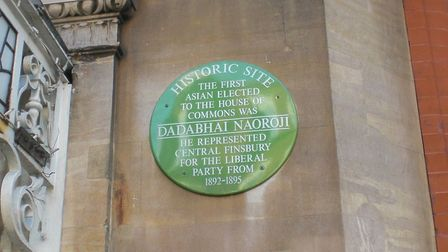 The plaque to Britain's first Asian MP who served in Finsbury Central, Dadabhai Naoroji. Picture: Jo