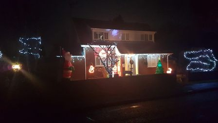 Last year's festive display at the home of Frankie Nixon's parents in Kesgrave Picture: FRANKIE NIXON