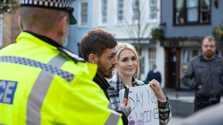 Protesters in Ipswich on Saturday Picture: CHARLEY SHILLABEER