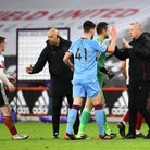 West Ham United manager David Moyes (second right) greets Declan Rice after the Premier League match