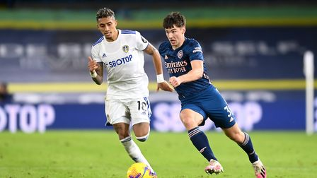 Leeds United's Raphinha (left) and Arsenal's Kieran Tierney battle for the ball