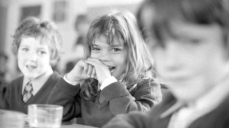 Some pupils waiting to eat their school dinner at St Pancras School in Ipswich Picture: ARCHANT