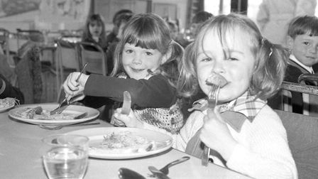 Two girls enjoying their school dinner at St Pancras School in Ipswich Picture: ARCHANT