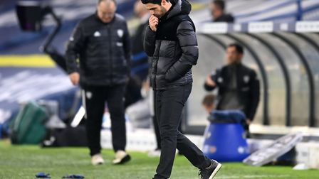 Arsenal manager Mikel Arteta gestures on the touchline