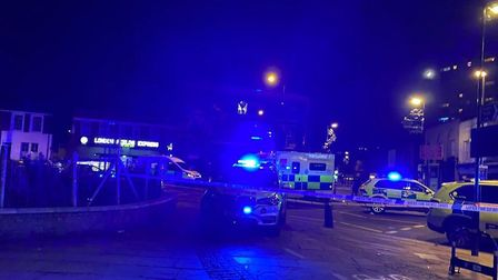 Police tape off Westgate Street, London Fields following the shooting last night. Picture: @999London