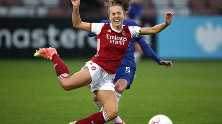 Arnsela's Lia Walti challenged by Cheslea's Sophie Ingle during the FA Women's Super League match at Meadow Park...