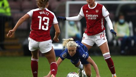 Cheslea's Pernille Harder (centre) falls during the FA Women's Super League match at Meadow Park, Borehamwood.