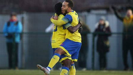 Roman Michael-Percil of Haringey scores from the penallty and celebrates during Haringey Borough vs Potters Bar Town...