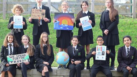 Some of the students on the Climate Crisis Committtee at Woodbridge High School in Woodford Green. Picture: Woodbridge High S...