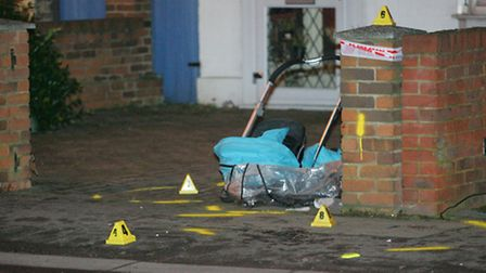 The pushchair at the scene of the accident