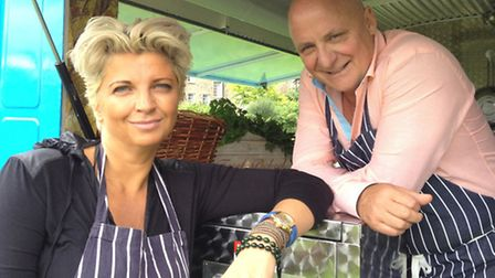 Silvena Rowe and Aldo Zilli from Country Show Cook-Off, which starts on BBC Two on April 1. Picture: PA Photo/Handout.