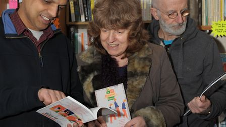 The Village Bookshop owner, Tan Dhillon, left, with Terry and her husband Jack
