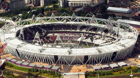 Aerial view of the Olympic Park, in Stratford, east London, showing the Olympic Stadium