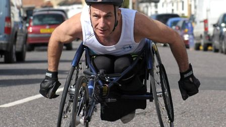 Gary Donald is doing the London Marathon in a race wheelchair.