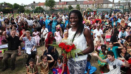 Olympic sprinter Christine Ohuruogu attends the opening of the new gym at Vicarage Primary School.