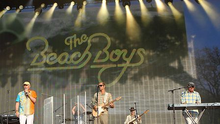 The Beach Boys perform at British Summer Time Hyde Park with Mike Love (centre left) and Bruce Johnston on keyboards (right)