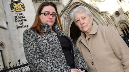 Cllrs Sarah Hayward and Valerie Leech at the Royal Courts of Justice to hear an HS2 judicial review in December. Picture...