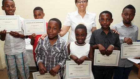 Cllr Brenda Fraser,centre with Hackney youngster who received a Certificate of Achievemen at thet VITAL EET awards