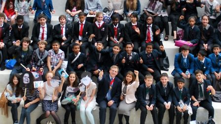 Cllr Tulip Siddiq (front row, centre) and Camden deputy mayor Cllr Lazzaro Pietragnoli (front row, centre) with students...