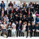 Cllr Tulip Siddiq (front row, centre) and Camden deputy mayor Cllr Lazzaro Pietragnoli (front row, centre) with students at t...