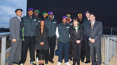 The London Lions pose outside their new home The Copper Box