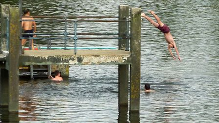 The Kenwood Ladies Pond at Hampstead Heath were closed to swimmers today. Picture: Nigel Sutton