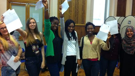 Top marks: Students at Ursuline Academy celebrate their grades