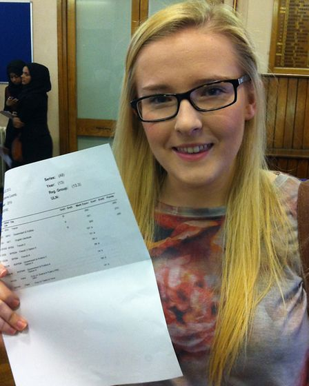 Sarah Coomb, 18, of Ilford, said she was 'so scared' before receiving her results - but she needn't have worried. The...