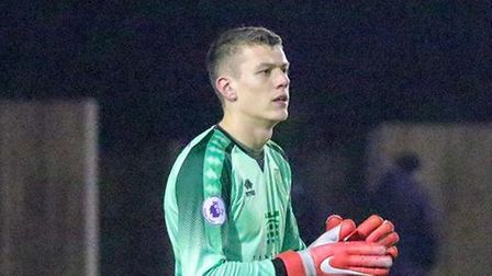 Jon McCracken was in goal for Norwich City U21s at Whaddon Road Picture: Norwich City FC