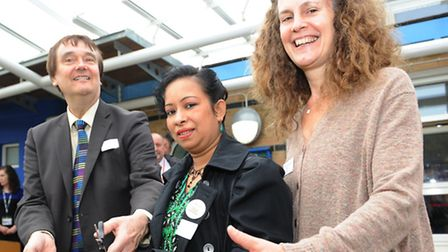 Left to right: Councillor Alec Kellaway, Councillor Ayesha Chowdhury and Chair of Governers at Gallions Reach Primary...