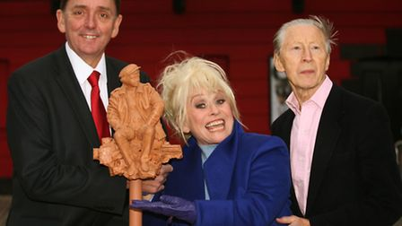 Mayor of Newham Sir Robin Wales with EastEnders actress Barbara Windsor MBE and actor Murray Melvin stand for a...