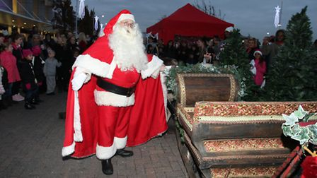 Santa leaves to the North Pole by sleigh and his reindeers from Gallions Reach Shopping Park.
