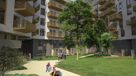 An artist's impression of how the new housing area will look