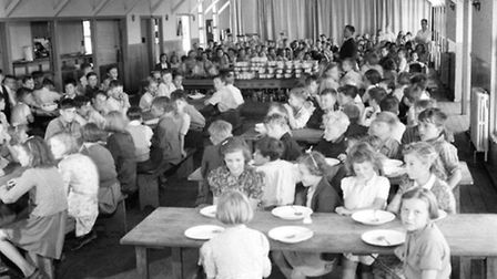 Evacuees in the dining hall of Marchant's Hill School, Hindhead, Surrey, 1944