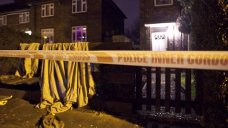 A police cordon outside a home in Kingsbridge Road, Harold Hill, where a man collapsed after being stabbed at an address...