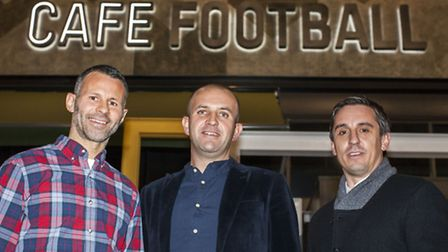Ryan Giggs, general manager Stuart Procter (centre) and Gary Neville at theCafe Football launch