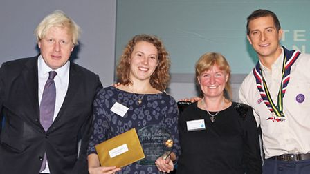 Mayor of London Boris Johnson (left), Olivia Woodward, Marian Spiers, from DOST Youth Group and TV adventurer Bear Grylls...