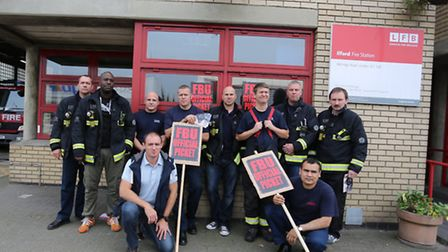 Firefighters outside Ilford Fire Station protesting about the changes to pensions earlier this year