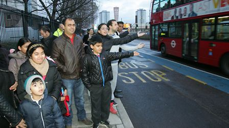 Frustrated passengers at bus stop where buses can't stop