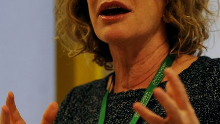 Author Philippa Gregory speaks to students at the London Academy of Excellence.