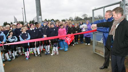 Mike Studdard of England Hockey and Andy Couves of Sport England open the new pitches at Redbridge Sports Centre