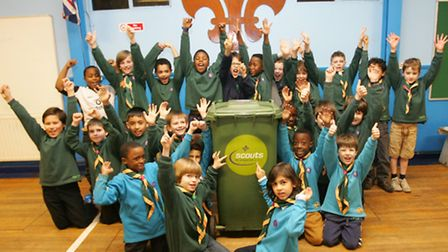 Newham 11th west scout group celebrate having their bin collection re-instated